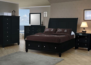 Sandy Beach Black California King Storage Bed w/Dresser, Mirror, Chest and Nightstand