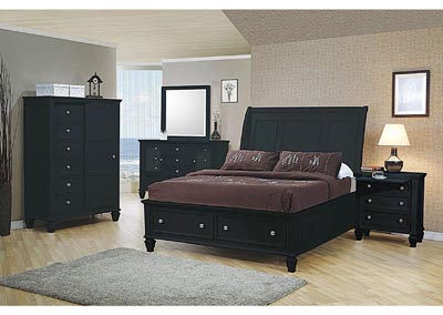 Sandy Beach Black King Storage Bed