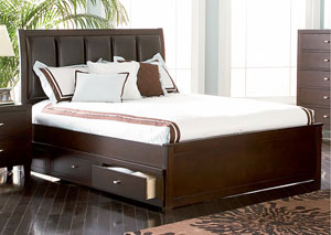 Lorretta Cappuccino King Storage Bed