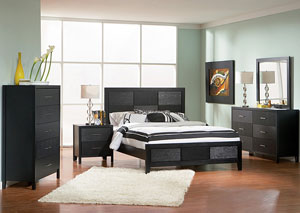Grove Black Queen Bed w/Dresser, Mirror & Chest
