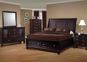 Sandy Beach Cappuccino Queen Bed w/Dresser, Mirror & Nightstand