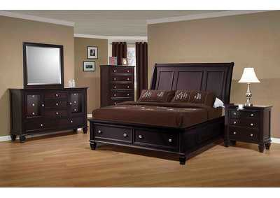 Sandy Beach Cappuccino Eastern King Storage Sleigh Bed