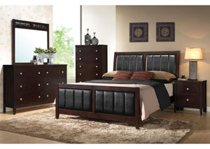Solid Wood & Veneer Queen Bed w/Dresser, Mirror & Nightstand