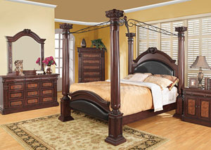Grand Prado Black & Cherry King Bed w/Dresser & Mirror