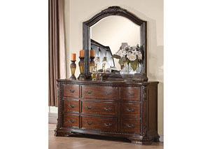 Maddison Brown Cherry Dresser w/Mirror
