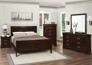 Louis Philippe Cappuccino Queen Bed w/Dresser, Mirror & Chest