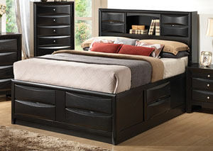 Briana Black Eastern King Storage Bed
