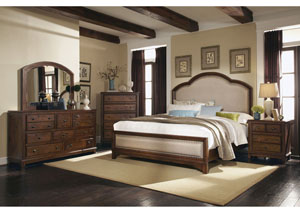 Cocoa Brown Eastern King Bed w/Dresser & Mirror