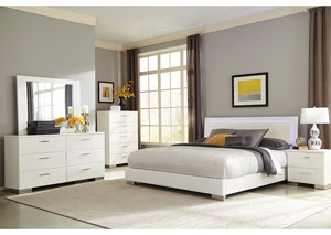 High Gloss White Eastern King Bed w/Dresser, Mirror, Chest & Nightstand