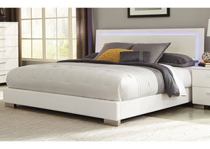 High Gloss White Eastern King Bed