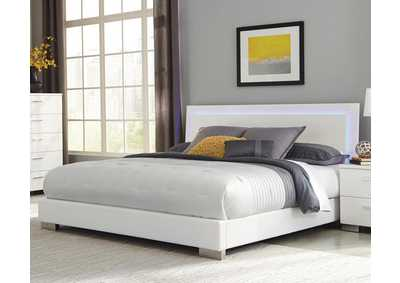 Image for Glossy White Felicity Contemporary Lighted Eastern King Bed
