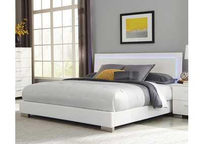 Image for Glossy White Felicity Contemporary Lighted Queen Bed