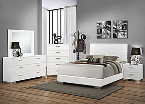 High Gloss White Eastern King Bed w/Dresser, Mirror & Chest