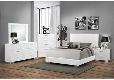 High Gloss White California King Size Bed