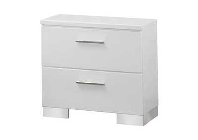 Image for Glossy White Felicity Contemporary Two-Drawer Nightstand