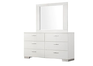 High Gloss White Dresser w/Mirror