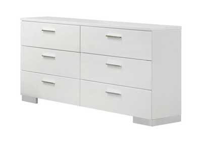 Image for Glossy White Felicity Contemporary Six-Drawer Dresser