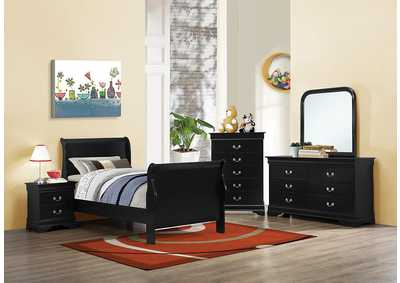 Louis Philippe Black Twin Bed