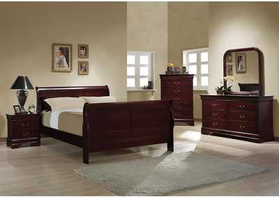 Louis Philippe Cherry Queen Bed w/Dresser, Mirror & Nightstand