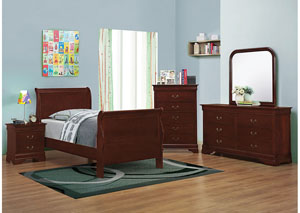 Cherry Twin Bed w/Dresser, Mirror, Chest & Nightstand