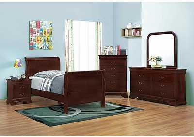 Louis Philippe Cherry Twin Sleigh Bed