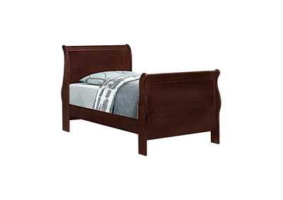 Image for Louis Philippe Traditional Red Brown Sleigh Twin Bed