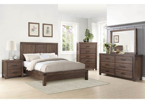 Wire Brushed Cinnamon Queen Panel Bed w/Dresser and Mirror