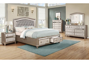 Bling Game Metallic Platinum Eastern King Storage Bed