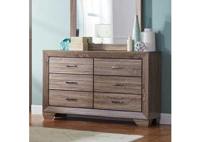 Kauffman Taupe Six-Drawer Dresser