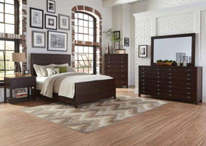 Acacia/Cocoa Medium California King Bed w/Dresser and Mirror