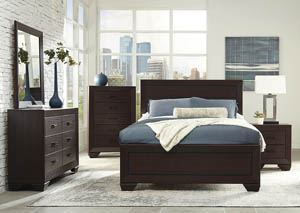 Dark Cocoa Eastern King Panel Bed w/Dresser, Mirror and Nightstand