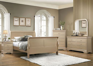 Metallic Champagne Queen Bed w/Dresser, Mirror and Nightstand
