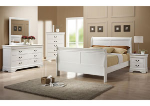 Louis Philippe White Full Bed w/Dresser, Mirror, Chest & Nightstand