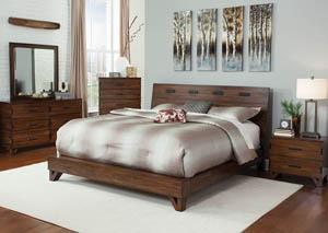 Dark Amber/Coffee Bean California King Platform Bed w/Dresser, Mirror, Drawer Chest and Nightstand