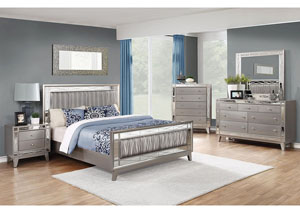 Leighton Metallic Mercury Queen Bed w/Dresser, Mirror, Drawer Chest and Nightstand