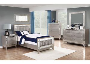 Leighton Metallic Mercury Twin Bed w/Dresser, Mirror and Nightstand