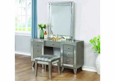 Leighton Metallic Mercury Vanity Desk, Stool and Mirror
