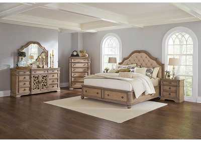 Ilana Antique Linen Eastern King Upholstered Storage Bed