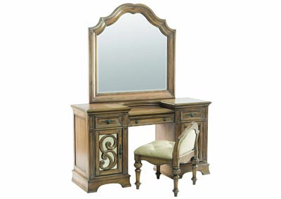 Antique Linen Vanity Desk w/Mirror