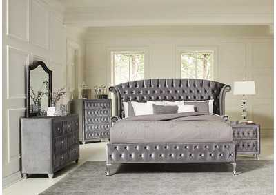Denna Metallic Grey Upholstered California King 4 Piece Bedroom Set