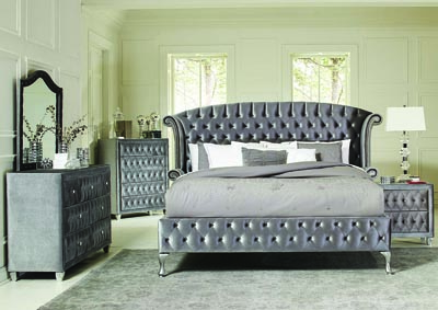 Metallic Eastern King Bed w/Dresser & Mirror