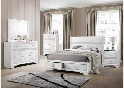 Miranda White Eastern King Storage Bed W/ Dresser & Mirror