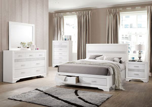 White Queen Storage Bed w/Dresser & Mirror