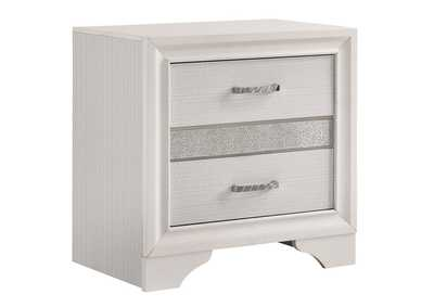 Image for White Miranda Modern Two-Drawer Nightstand W/ Hidden Jewelry Tray