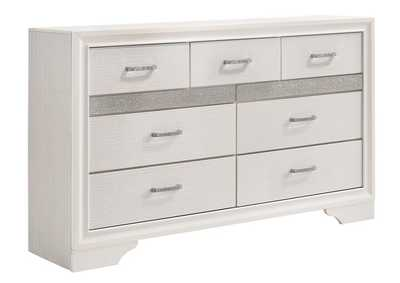 Image for White Miranda Modern Seven-Drawer Dresser W/ Hidden Jewelry Tray