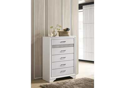 Miranda White Five-Drawer Chest