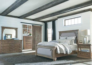 Florence Rustic Smoke Queen Panel Bed