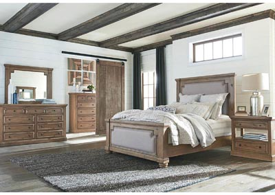 Florence Rustic Smoke Upholstered Queen 5 Piece Bedroom Set