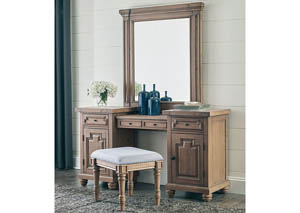 Brown Vanity Desk w/Mirror