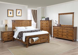 Natural & Honey Eastern King Storage Bed w/Dresser, Mirror & Nightstand